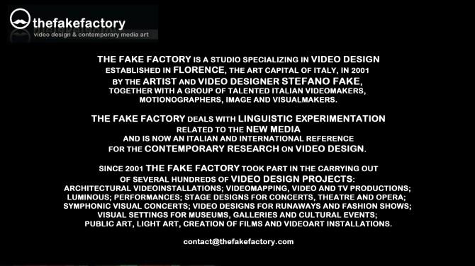 THE FAKE FACTORY # VIDEODESIGN 00