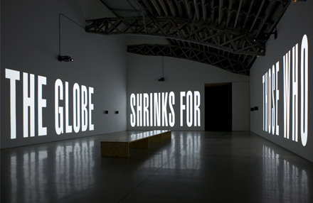 artist_barbara_kruger_the_globe_shrinks_mary_boone_gallery_2010_video_installation_view_5