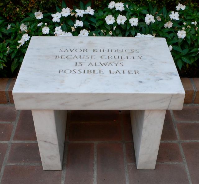 jenny-holzer-savor-kindness-bench
