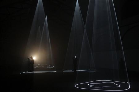 McCall light sculptures pierce Berlin black box